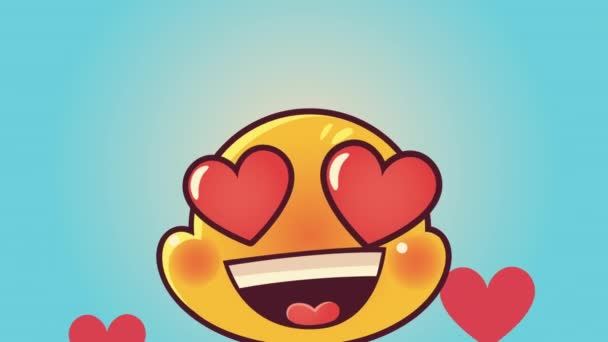 cute emoticon lovely face with hearts character animation
