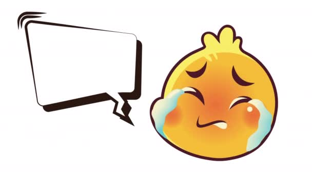 cute emoticon crying face with speech bubble animation