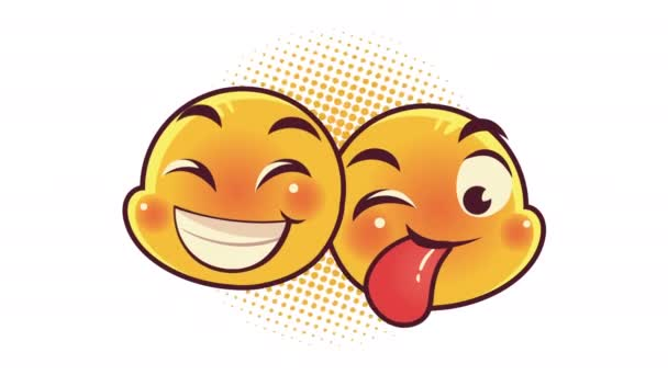 cute emoticons couple faces crazy and happy characters animation