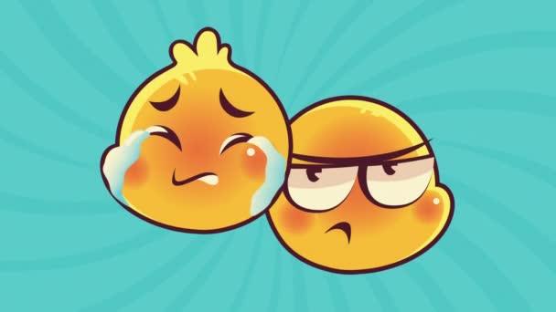 roztomilý emotikony pár tváře pláč a myšlení postavy animace