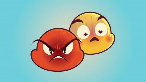 roztomilý emotikony pár tváře naštvaný a smutné postavy animace
