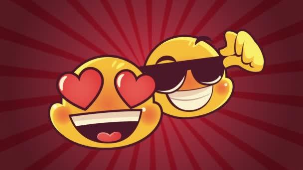 roztomilý emotikony pár tváře krásné a sluneční brýle animace znaků