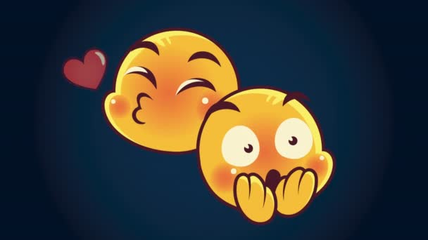 cute emoticons couple faces lovely and scared characters animation