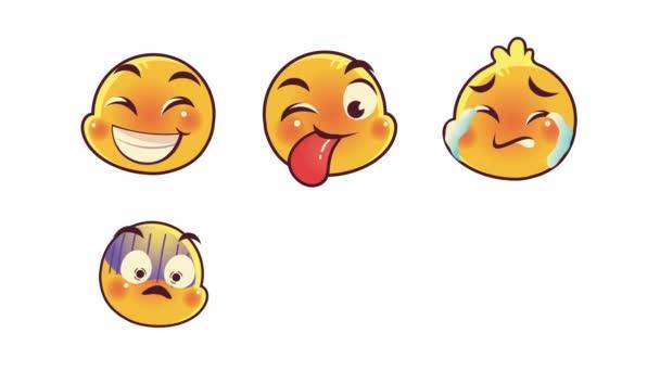 roztomilé šest emotikonů tváře animace znaků