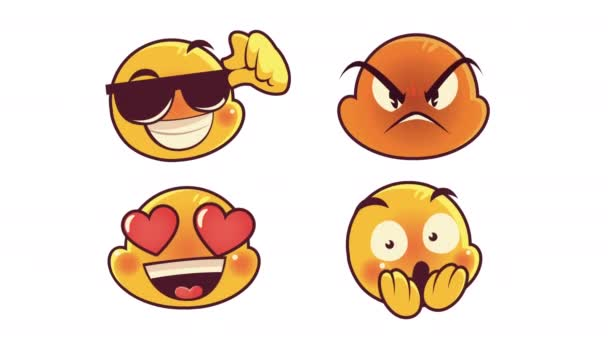 cute four emoticons faces characters animation