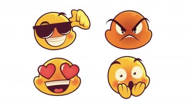 roztomilé čtyři emotikony tváře animace znaků