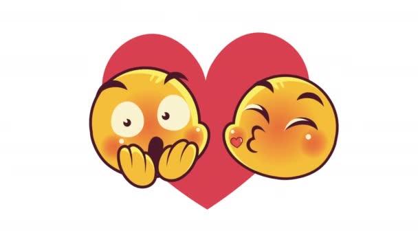 roztomilý emotikony pár tváře krásné a vystrašené postavy animace
