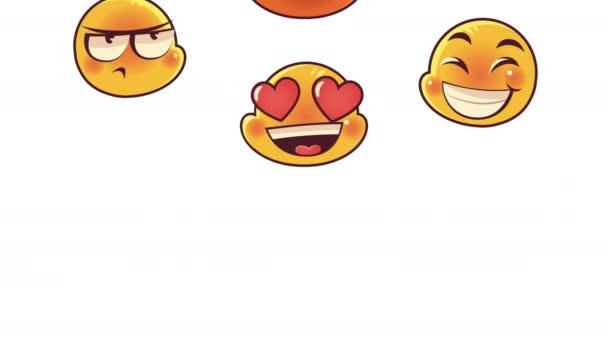 roztomilé emotikony čelí vzor animace znaků