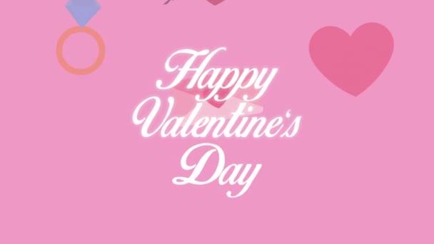 šťastný valentýnský den písmo se sadou ikon animace
