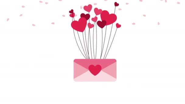 boldog Valentin napi kártya szerelmes borítékkal és szívvel