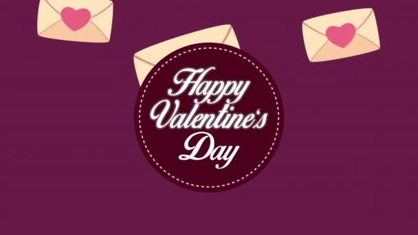 happy valentines day lettering with hearts in envelopes