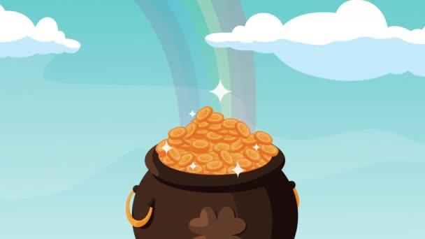 boldog szent patrickok nap animáció szivárvány kincs üst