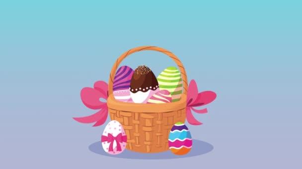 frohe Ostern Schriftzug Karte mit Eiern in Korb bemalt