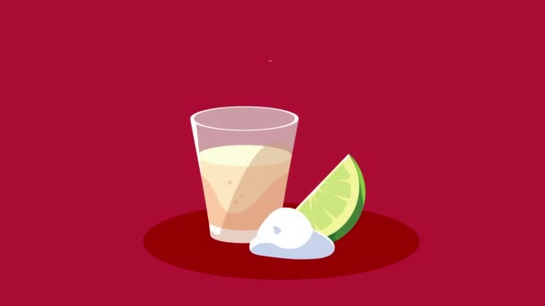 cinco de mayo lettering celebration with tequila cup and lemon