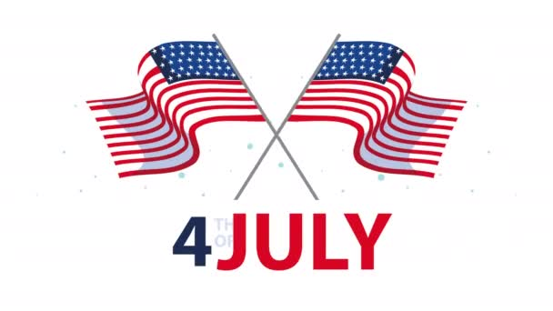 happy independence day USA lettering with flags crossed