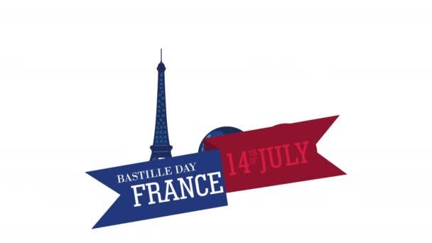 bastille den francouzská oslava nápis v stuze s Eiffelovou věží