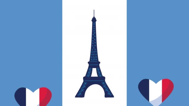 france celebration day with flag in hearts and eiffel tower