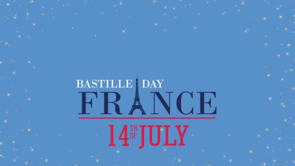 bastille day france celebration lettering with flag in heart