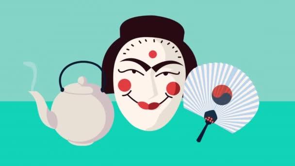 Animation koreanischer Kultur mit drei Symbolen