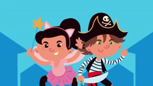 šťastná halloween animace s malou vílou a pirátem
