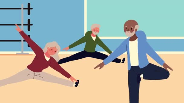Alte Menschen üben Übungsfiguren ein