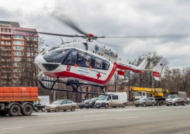 Medical helicopter takes off from the scene of the accident.