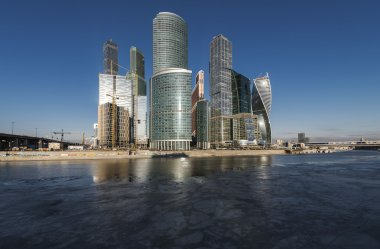 Business Center Moscow City winter day.