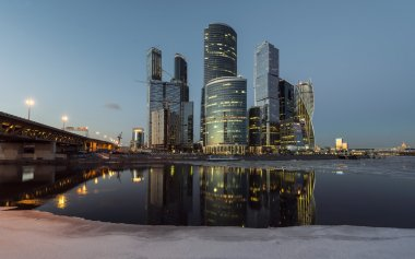Tall buildings Business Center Moscow City winter at sunset.