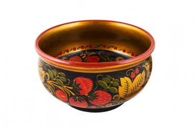 Wooden old Russian round bowl with painted Khokhloma.