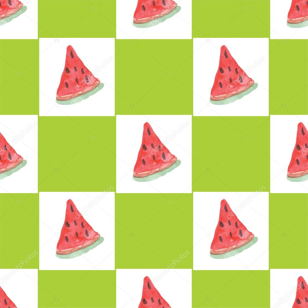 Seamless natural color pattern of red ripe watermelon