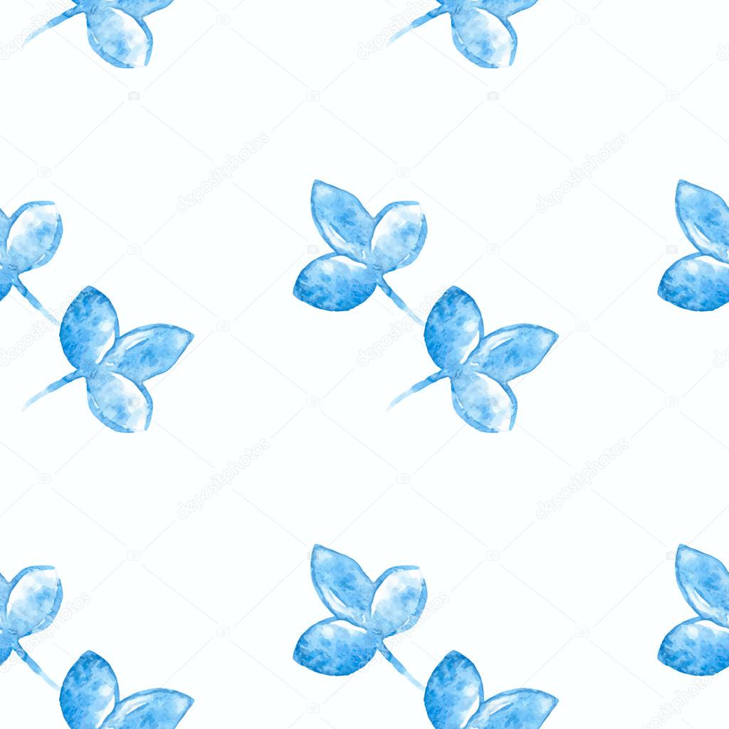Watercolor blue flower silhouette closeup isolated on white background. Art logo design. Russian style gzhel element