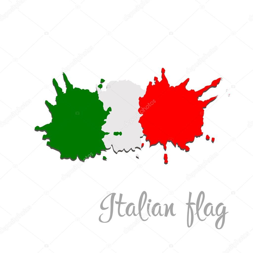 Italya Bayrağı Fırça El Boya Ile Boyanmış Sanat Bayrak Stok