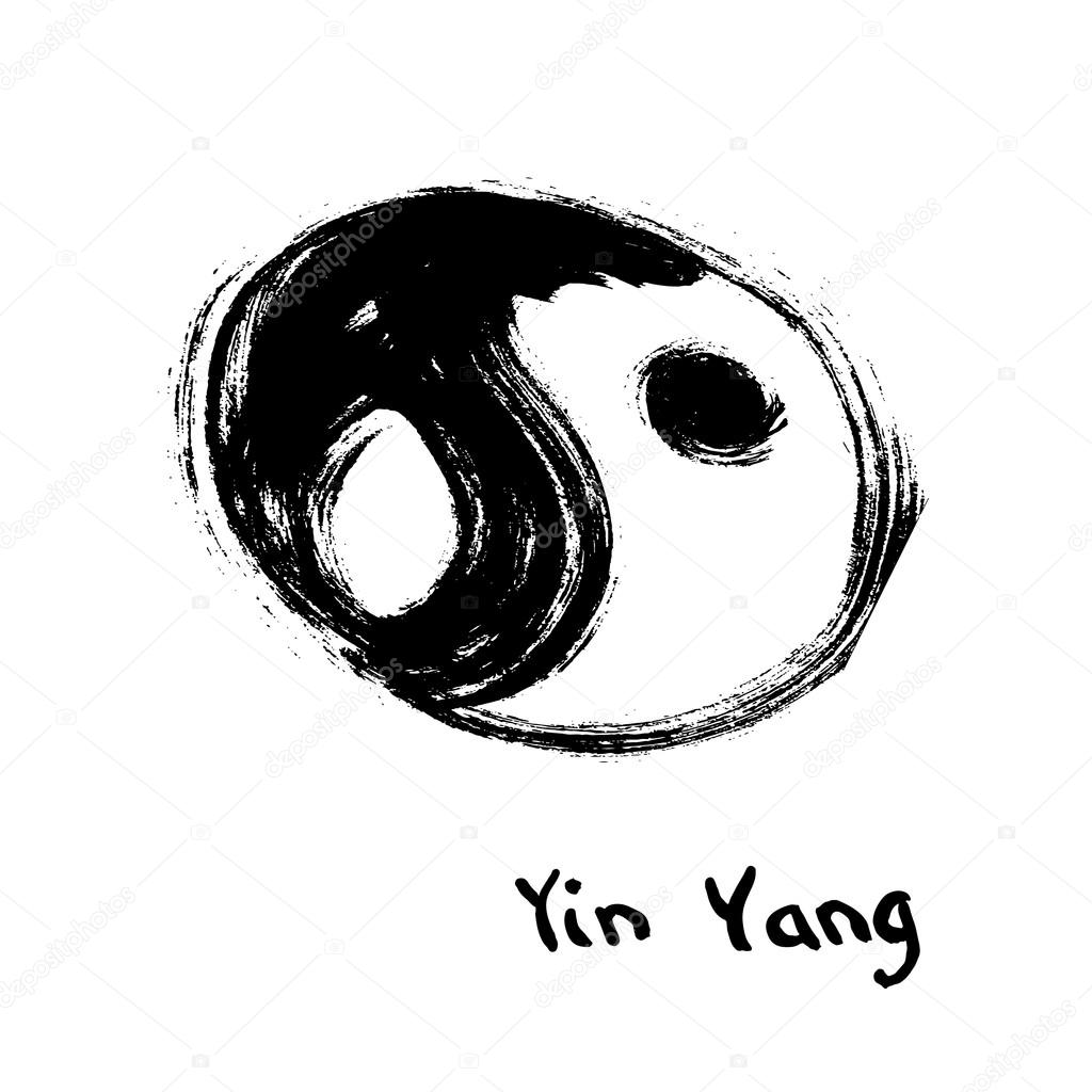Buddhist Symbol Of Yin Yang Chinese Calligraphy Ink Stock Vector