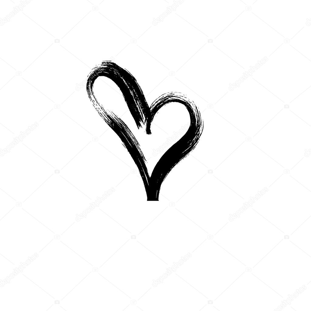 Hand drawn heart ink calligraphy stock vector