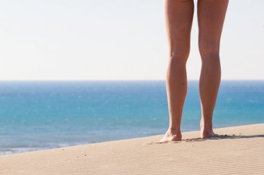 Womens legs from behind. Recreation. Blue sea