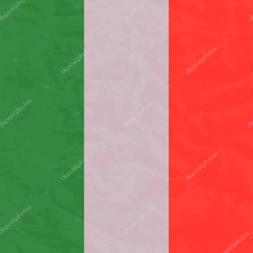 Italyan Bayrağı Fırça El Boya Ile Boyanmış Sanat Bayrak Stok