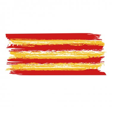 Catalan flag painted by brush hand paints. Catalonia art flag.
