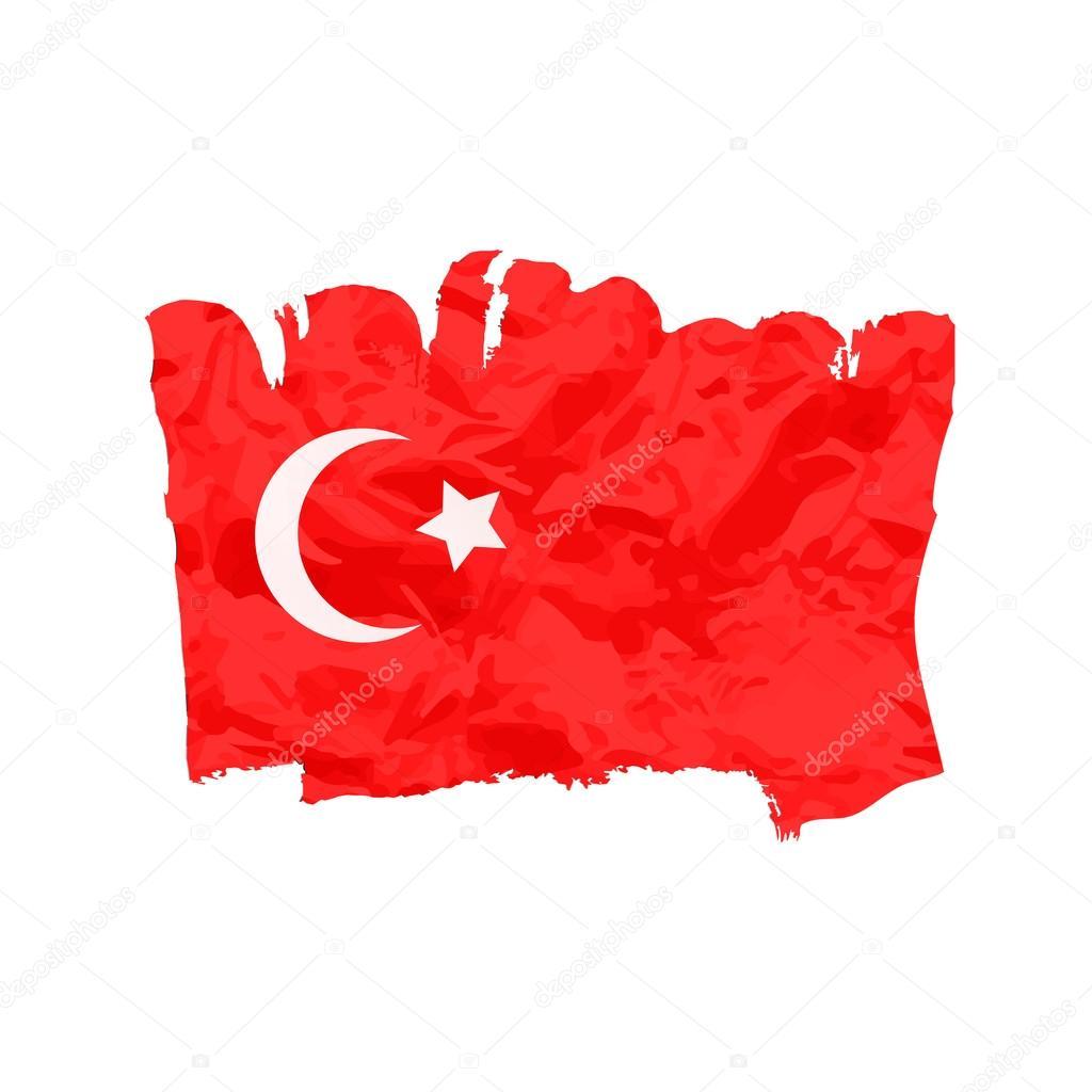 Türk Bayrağı Fırça El Boya Ile Boyanmış Sanat Bayrak Türkiye