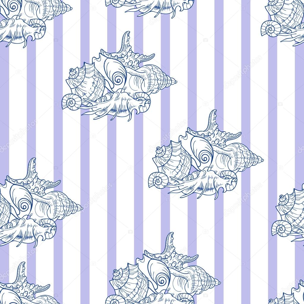 Shell seamless pattern on striped background