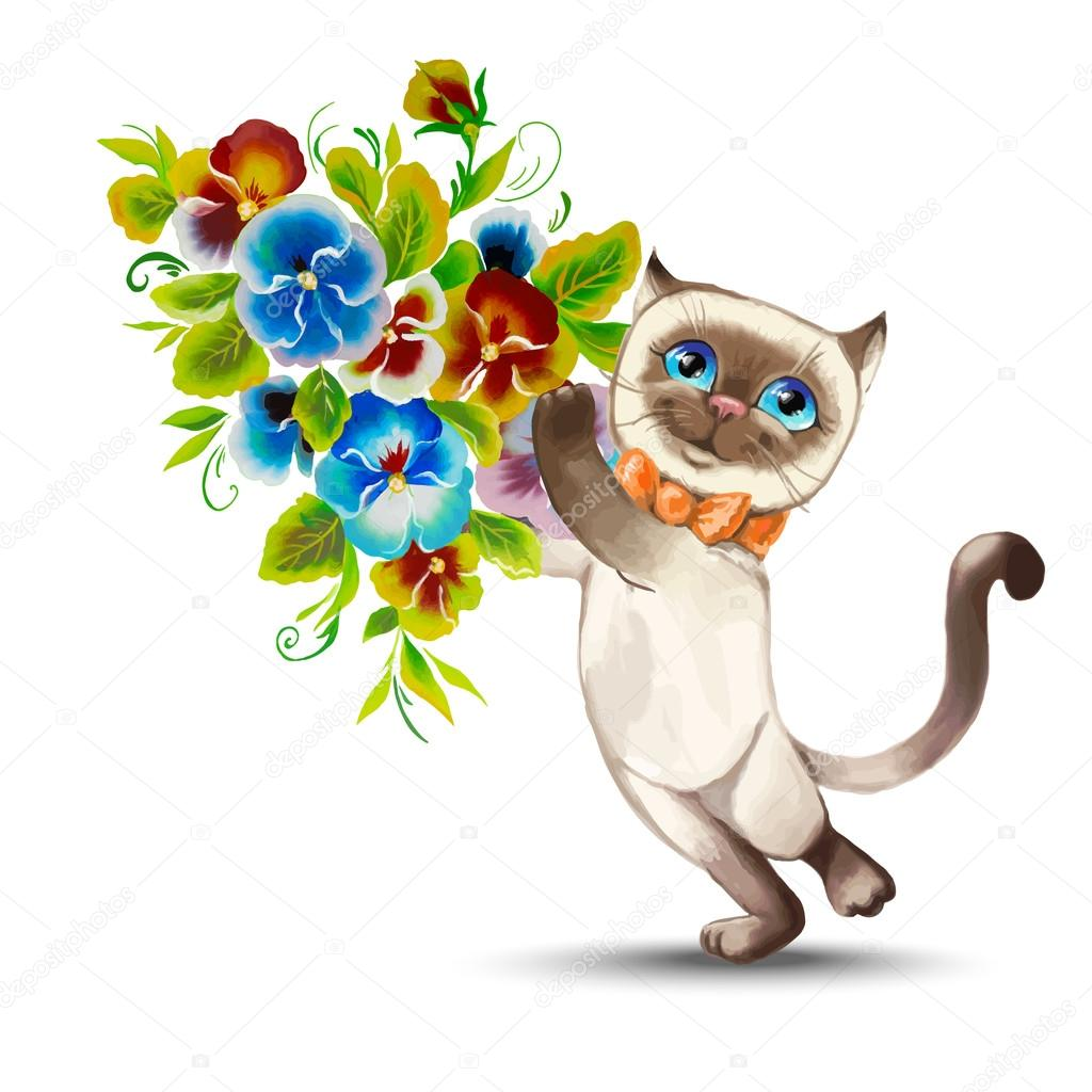 cat with a bouquet of flowers — Stock Vector © shatu #62174053