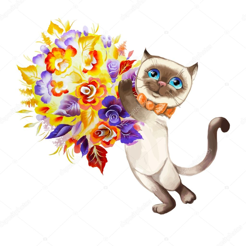 cat with a bouquet of flowers vector — Stock Vector © shatu #64990503