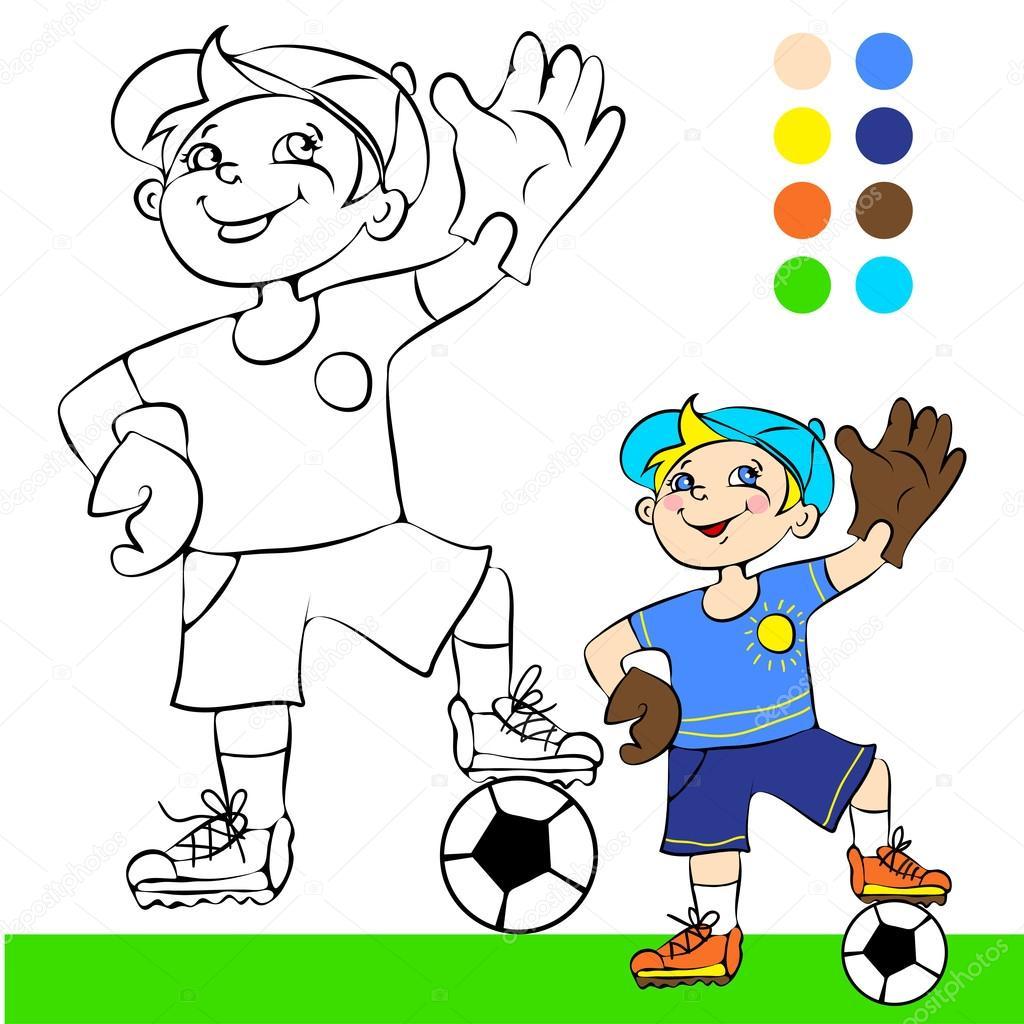 Ilustración de Vector, jugador de fútbol, concepto de historieta ...