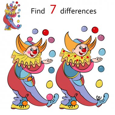 Vector illustration, clowns  find the differences between images, cartoon concept.