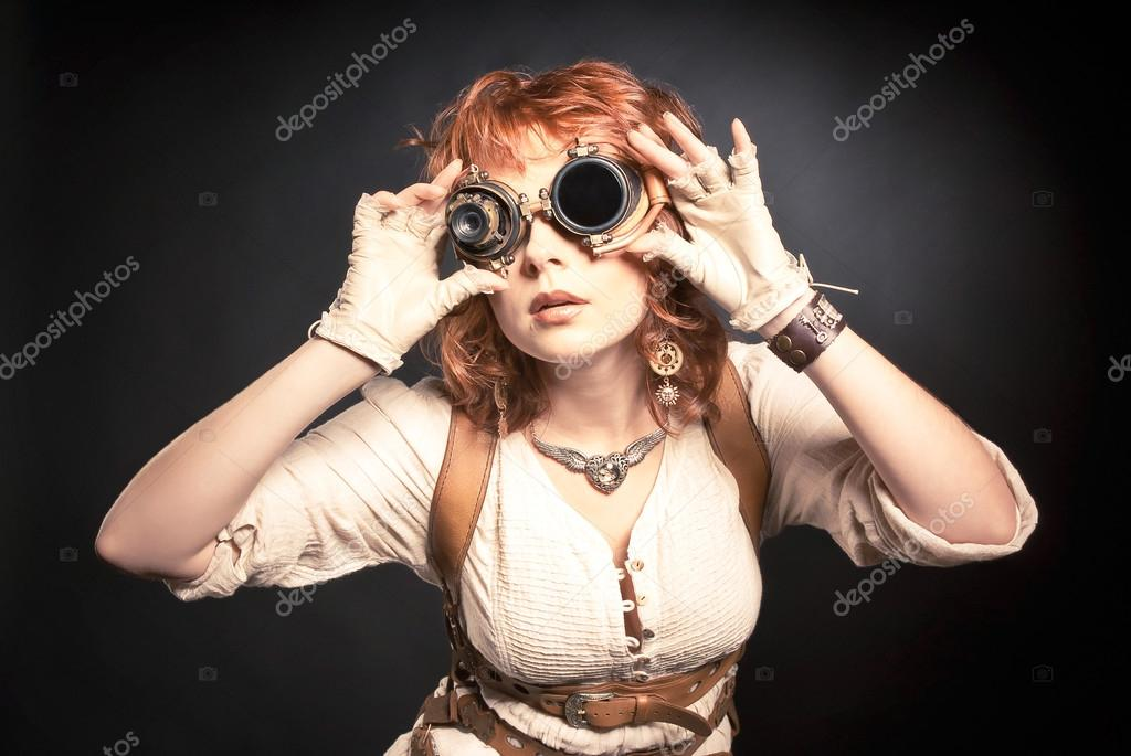 Steampunk woman with goggles
