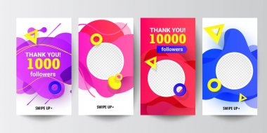 Modern social networks follow us banner set with liquid gradient shapes, with speed round decor elements and editable photo isolated on background. Can use for, website, mobile app, poster, flyer, coupon, gift card, smartphone template, web design icon