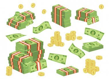 Set a various kind of money. Money cash heap, pile and stack money illustration icon