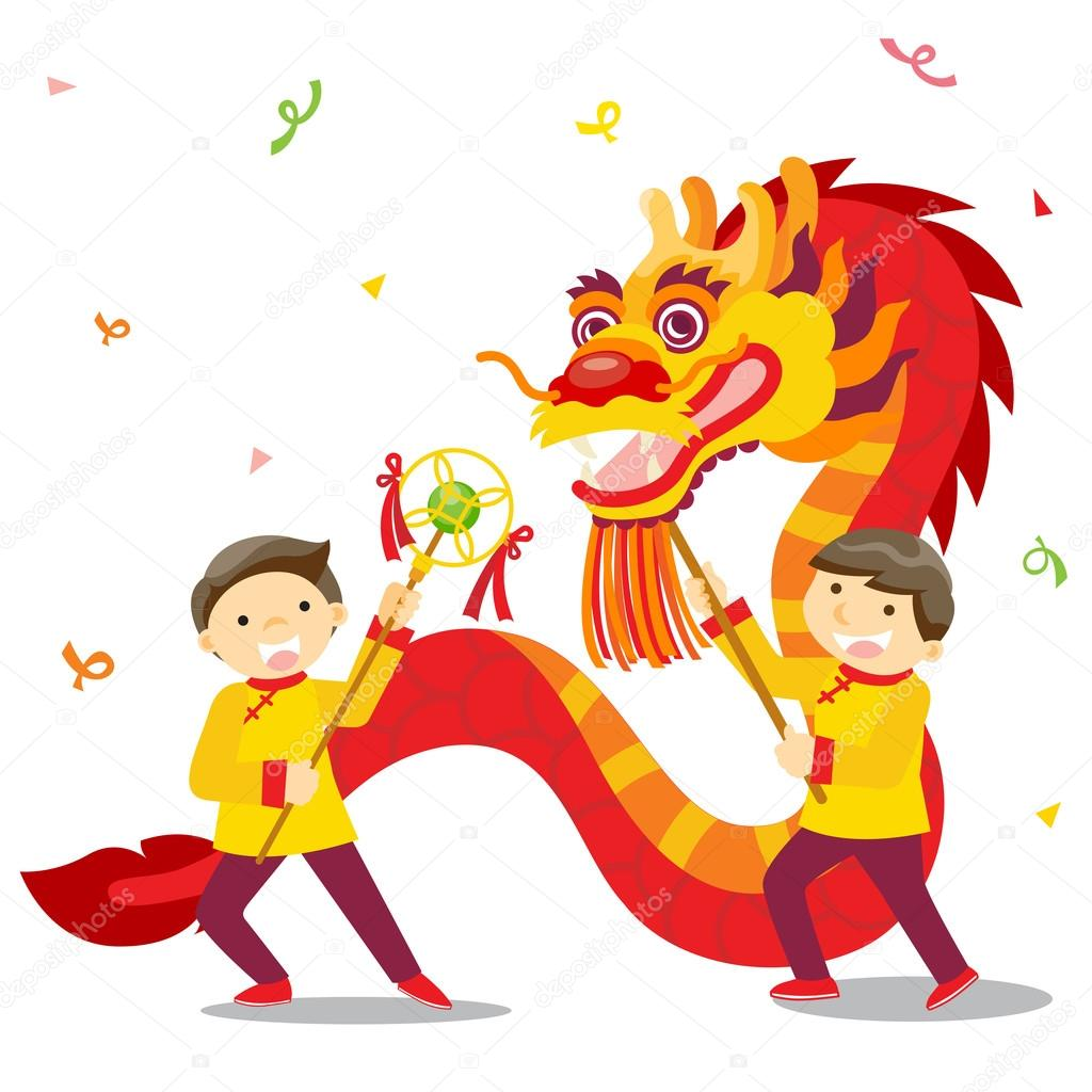 chinese new year festivaldragon dance stock vector