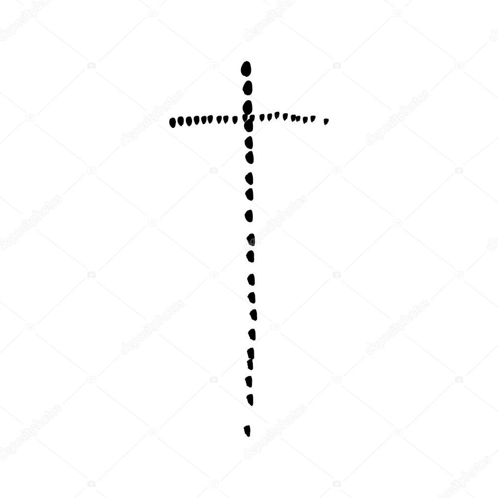 Christian Cross Grunge Vector Religion Symbol Stock Vector