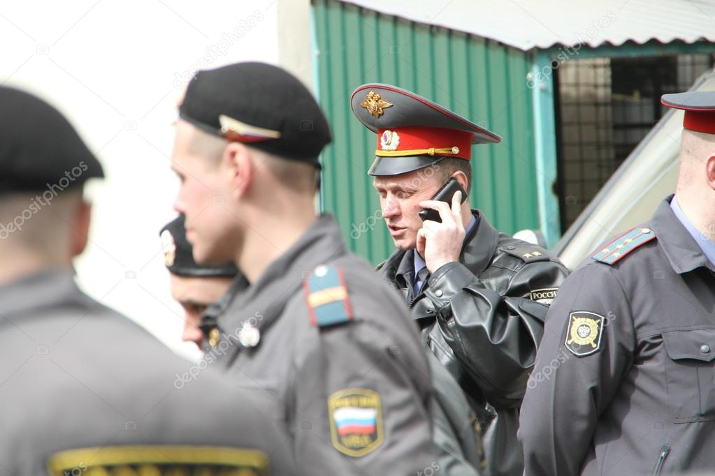 Police officers near the courthouse where case of Pussy Riot is heard