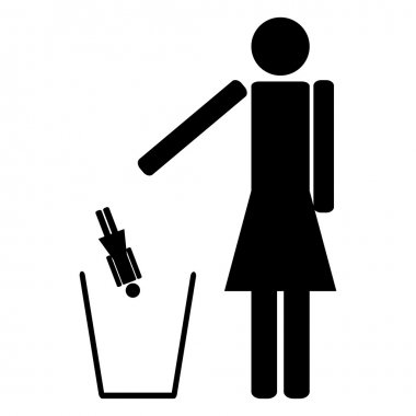 woman throws out in a recycle bin of the girlfriend